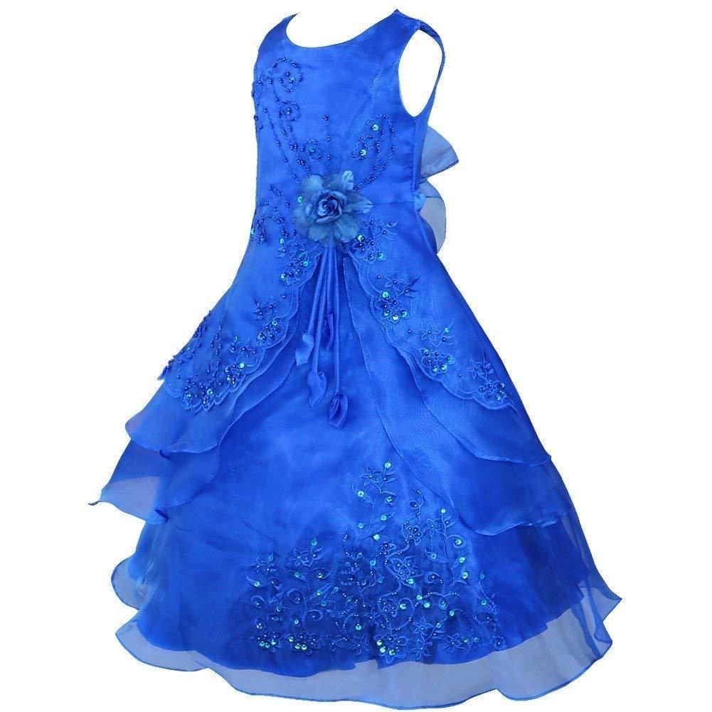 Bleu 11-12 ans MJY Mode Enfants Filles 'Robe De Fleur Sans Manches Brodé De Mariage De Demoiselle D'honneur Couches-robes Robes Formelles Robe De Bal De Bal,Bleu marin,7-8 ans