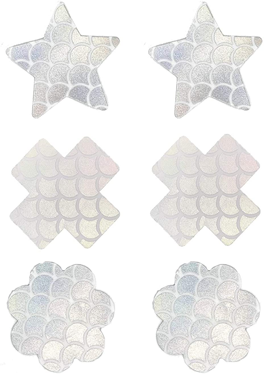 petalo usa e getta 6 Pairs Cross White Mermaid Taglia Unica Ypser Nippel Pasties copricapezzoli adesivi