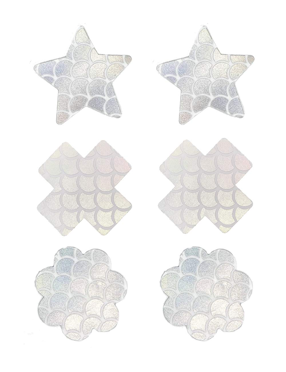 SATINIOR 6 Pairs Glitter Nipple Breast Covers Crossed Nipple Stickers Disposable Pasties