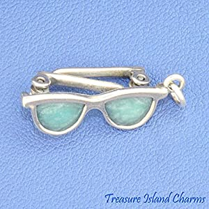 BLUE ENAMEL SUNGLASSES MOVABLE 3D .925 Solid Sterling Silver Charm BEACH SUN Jewelry Making Supply Pendant Bracelet DIY Crafting by Wholesale Charms