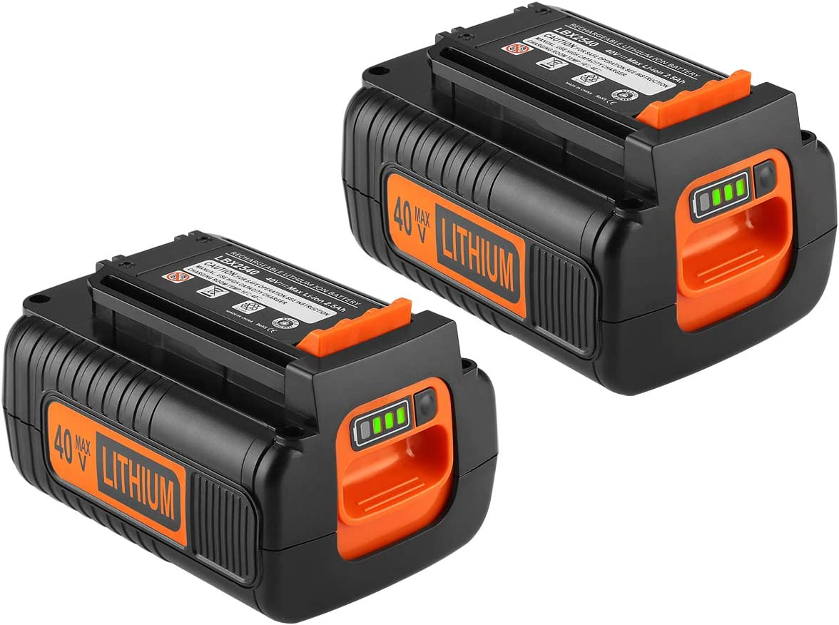 Powilling 2Pack 40 Volt MAX 2.5Ah Lithium Replacement Battery for Black and Decker 40V Battery LBX2040 LBXR36 LBXR2036 LST540 LCS1240 LBX1540 LST136W Black+Decker Lithium Battery