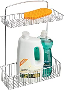 mDesign Metal Farmhouse Wall Mount Kitchen Storage Organizer Holder or Basket - Hang on Wall, Under Sink, or Cabinet Door in Kitchen/Pantry - Holds Dish Soap, Window Cleaner, Sponges - Chrome