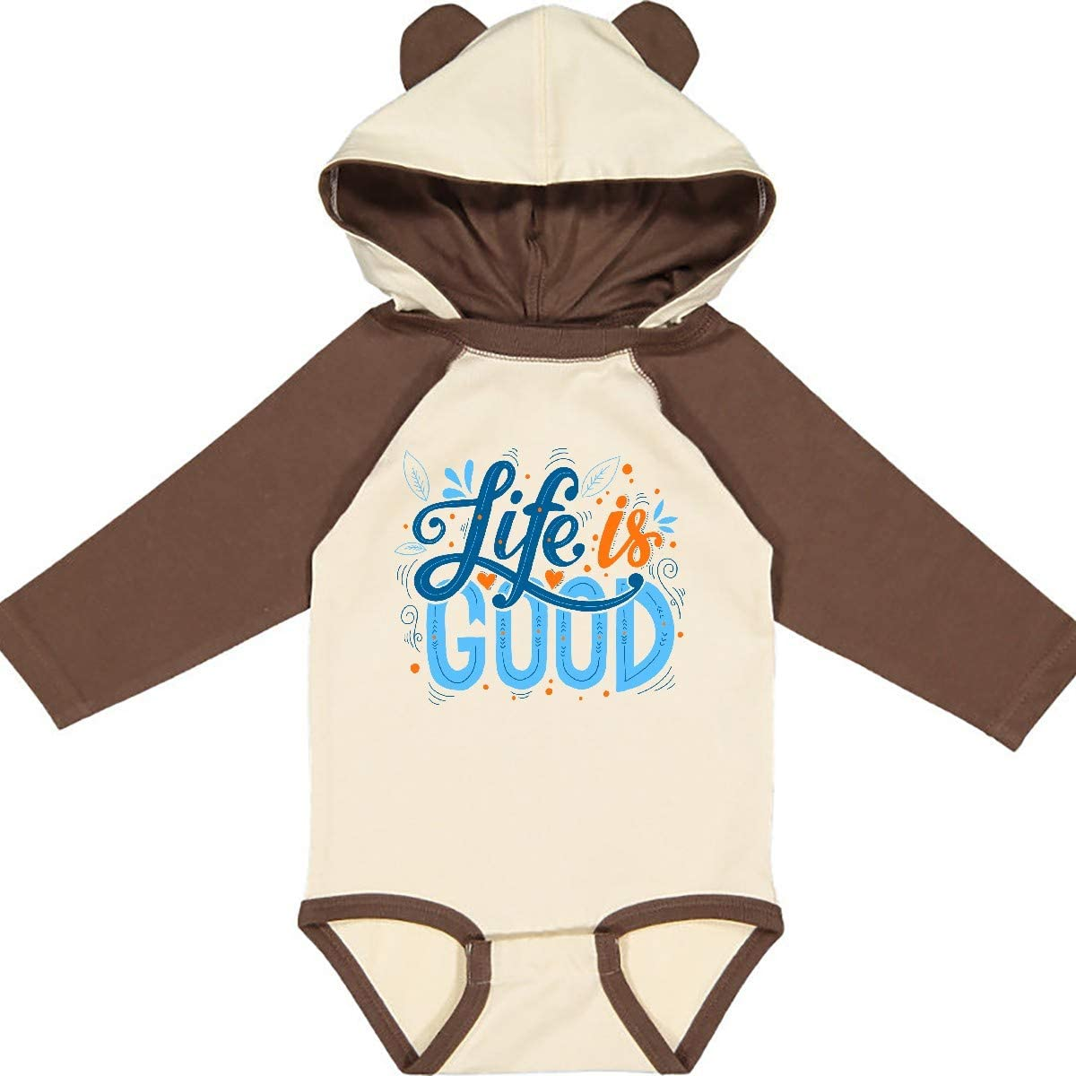 inktastic Life is Good Handlettered in Dark Blue Light Blue Long Sleeve Creeper