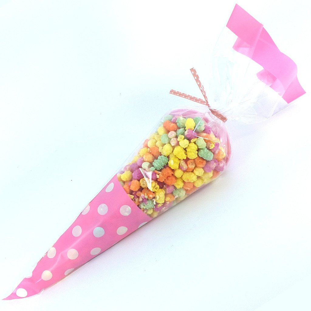 coloured twist ties many designs stickers blu SKIDDOO Cellophane clear cone bags for party or sweets