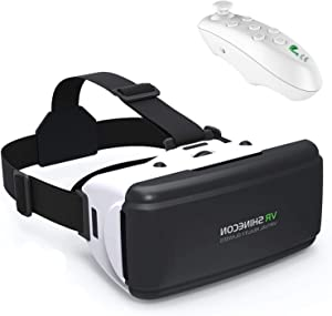 3D Headset VR Glasses 360°Movie Game Viewer w/Remote Teen Boy Girl Adult Gift, Compatible for iPhone X XR XS 8 7 6 Plus Samsung Galaxy S9 S8 S7 S6 Edge J3 J7 LG G6 G5 G4 Pixel etc Cell Phone, White