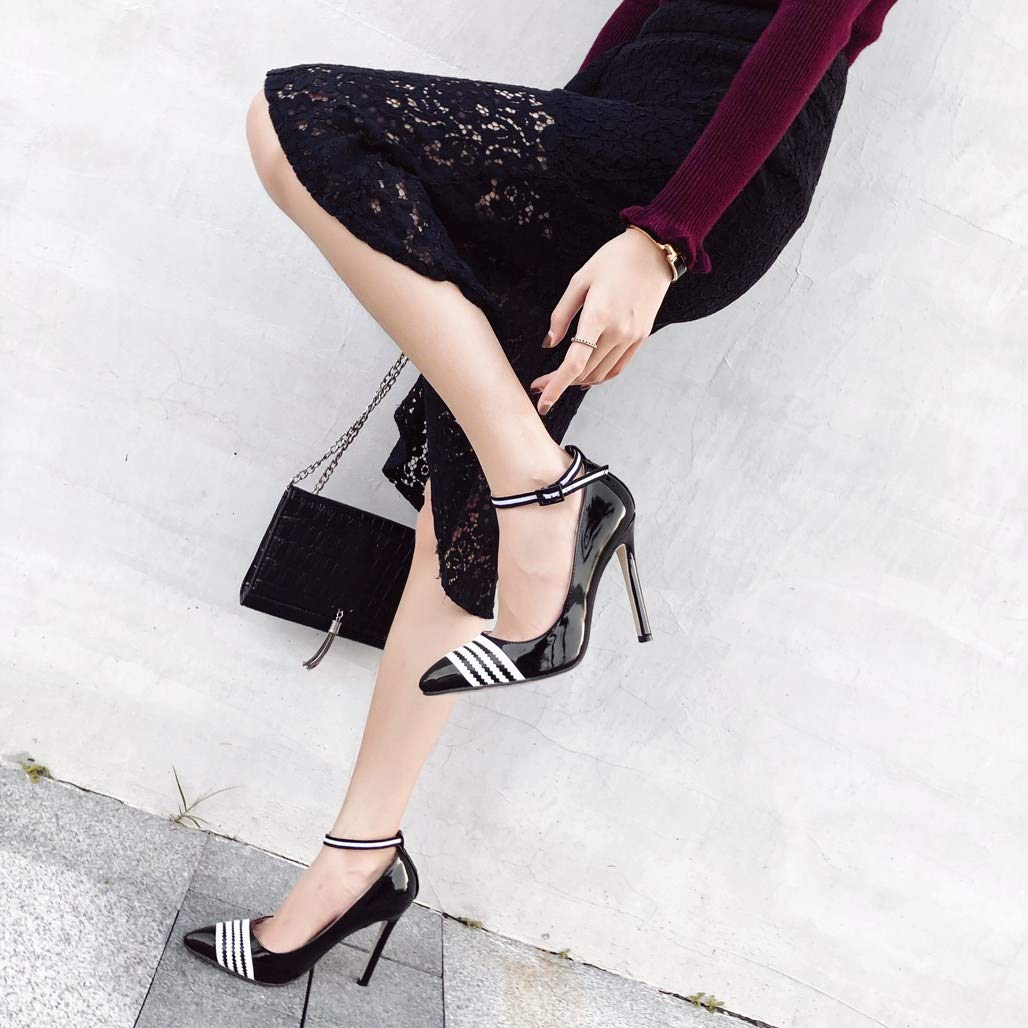 GoldGOD Damen High Heels Wies Wies Wies Durchbrochene Schnalle Partykleid Schuhe,schwarz,39 f38f04