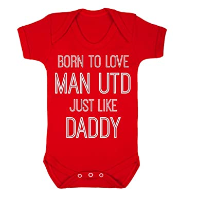 8d75810c5 InfiniteTee Born To Love Man Utd Like Daddy Baby Grow Vest Manchester  Football United Gift Red  Amazon.co.uk  Clothing