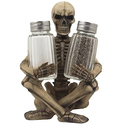 Attractive Scary Skeleton Glass Salt And Pepper Shaker Set With Decorative Spice Rack  Display Stand Holder Figurine