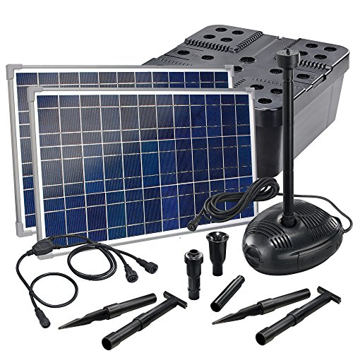 Solar Teichfilterset Profi 1700 l/h Förderleistung 2 x 25 W Solarmodule Komplettset bis 6000l Gartenteich 101072