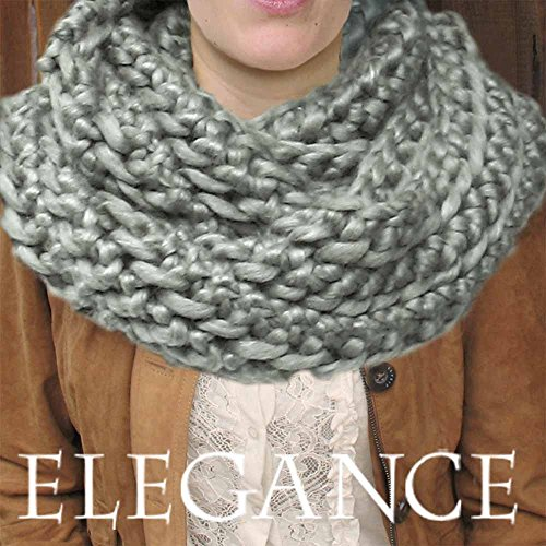 Extra Soft Yarn (Super Chunky Outlander Cowl KNIT KIT includes soft thick Merino Silk Yarn, #19 extra large knitting needles and written pattern w. photo tutorial. DIY. Elegance Yarn by Living Dreams.)