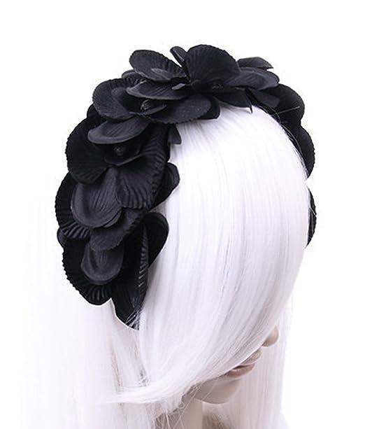 Gothic Steampunk Haarband Haarreif Kopfschmuck Geweih Orchideen Knospen schwarz