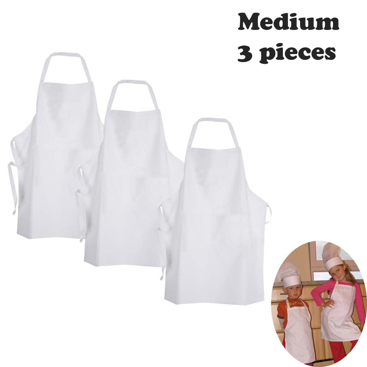 White apron meals - Amazon Com White Fabric Kids Chef Apron To Decorate With Marker Paint Iron On Or Embroidery M 3 9 Years 3 Pc Pack Home Improvement