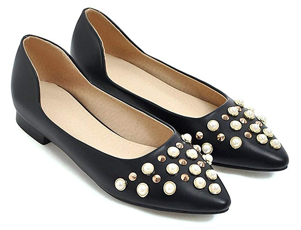 Unm Womens Slip on Flats Shoes with Studs Beaded Pointy Toe Low Cut Comfort Driving Cars
