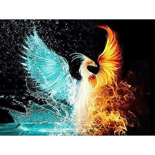 DIY Round Diamond Painting Kits for Adults Full Drill Cross Stitch Phoenix with ice and fire Home Decoration 40x30CM