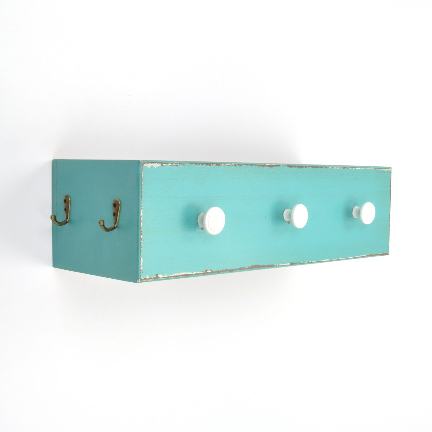 abodent.com Turquoise Wall Mounted Wood Storage Box Knobs Coat Rack, Wall Rack, Coat Hook Rack, Coat Robe Hat Clothes Wall Mounted Hook Hanger (Screws)