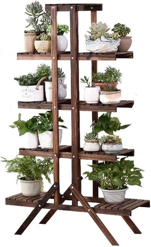 HShj Soporte Vertical De Madera De 5 Capas, Soporte De Exhibición De Plantas para Interiores/Exteriores, Estante para Macetas con Balcón En El Jardín - Marrón Oscuro: Amazon.es: Hogar