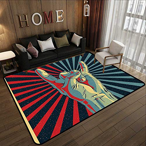 """Indoor Outdoor Rugs,Music,Hand in Heavy Rocker Sign Musical Universal Gesturing Thunder Bolts Party People,Multicolor 63""""x 94"""" Floor Mat Kitchen Long Carpet"""