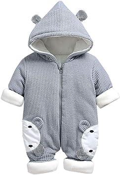 Collager Newborn Baby Cartoon Bear Snow Suit Infant Jumpsuit Winter Warm Fleece Snowsuits Romper for Boys Girls
