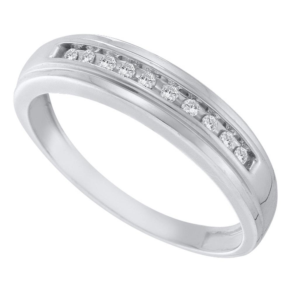 GemApex Diamond Mens Wedding Band Solid 10k White Gold Ring One Row Round Channel Set Polished Fancy 1//8 ctw