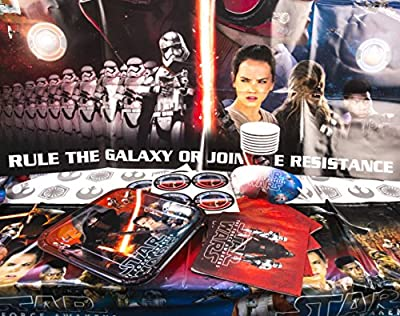 Maven Gifts: Party Bundle - Star Wars Episode Vll Party Game Board, Square Plates, Cups, Plastic Table Cover and Luncheon Napkins