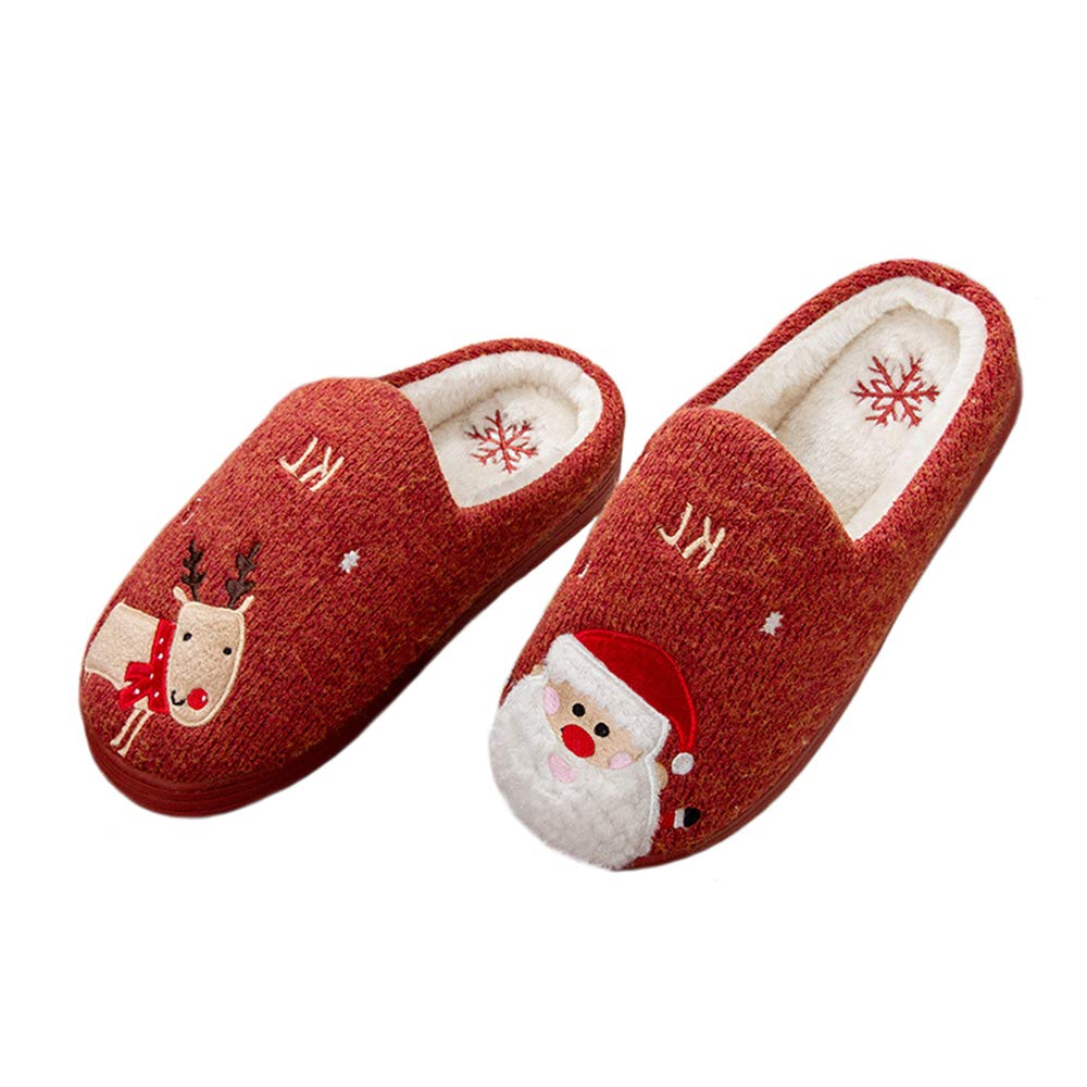 MolVee Womens Winter Soft Warm Memory Foam Christmas Deer House Plush Lining Slippers Slip-on House Shoes Indoor