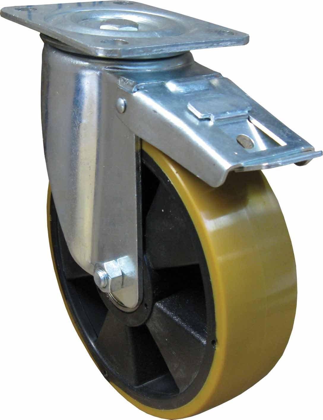 Schwerlast Polyurethan Lenkrolle mit Feststeller Rad /ø 200mm mit Tragkraft 1000Kg Lenkrolle Transportrolle Schwerlastrolle PU Artikel W941//F//3//200//S97//P6//TK1000