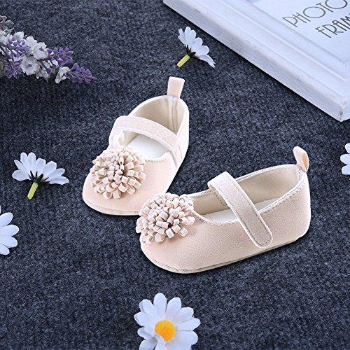 Zapato de Primer Paso Luerme Zapatos para Bebé-Niñas Zapato antideslizante Moda floral Beige