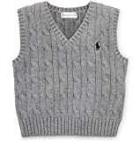 Ralph Lauren Baby Boys' Cable-Knit Cotton Sweater Vest (6 Months, Boulder Grey Heather)