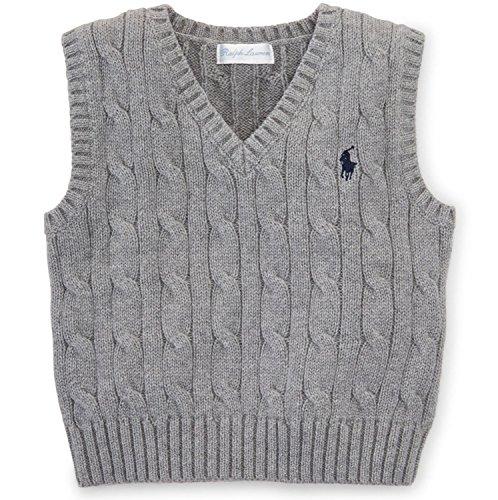 Ralph Lauren Baby Boys' Cable-Knit Cotton Sweater Vest (6 Months, Boulder Grey Heather) by RALPH LAUREN