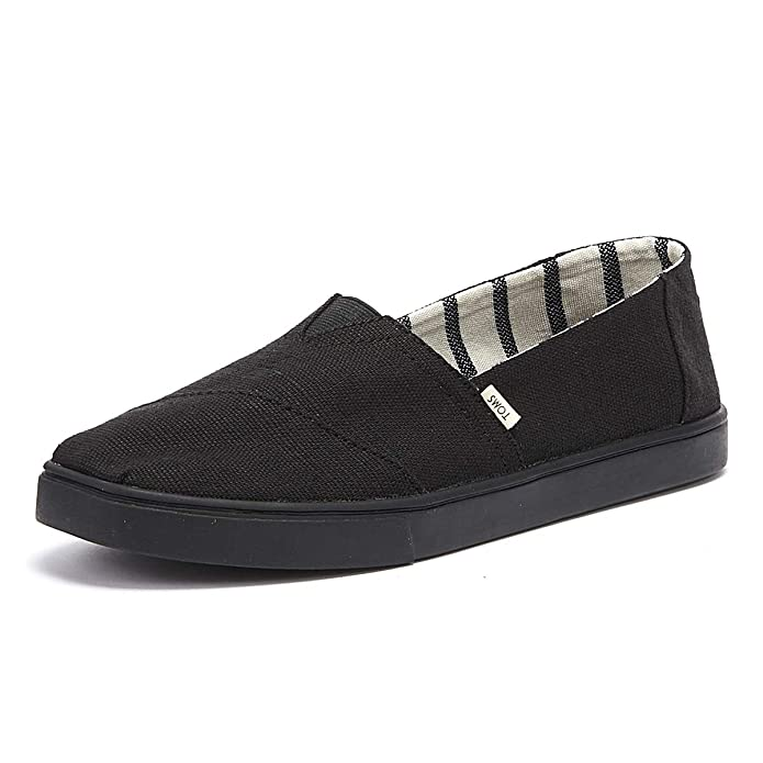 Amazon.com | TOMS Mens Cordones Lace-Up Sneakers (9 M US, Black/Black Heritage Canvas Cupsole) | Fashion Sneakers