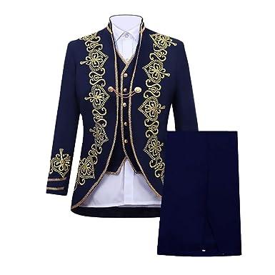 d4c5f87454f4 Xmiral Veste Costume Homme Slim vêtements européens Manteau Pantalon Gilet  (M