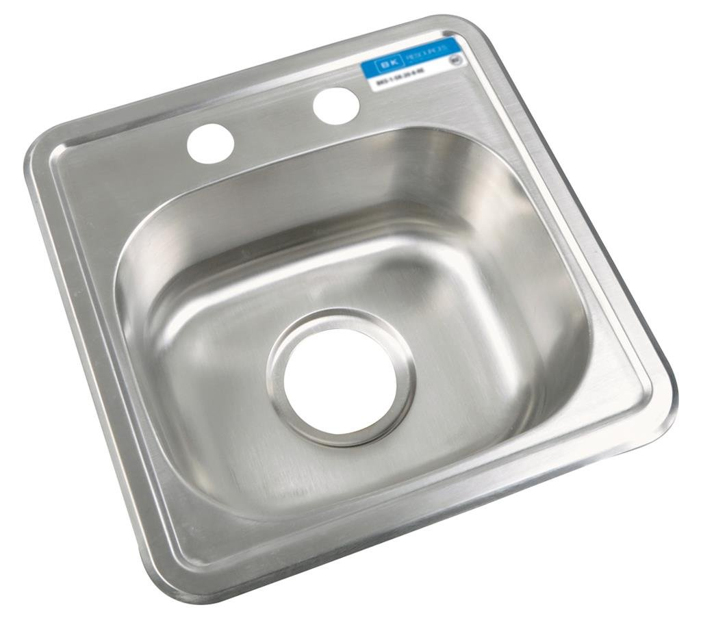 BK Resources BK-DIS-1515 Stainless Steel 1 Compartment Drop in Sink with 12'' x 10'' x 5.75'' Bowl, 5'' Height, 15'' Width, 15'' Length