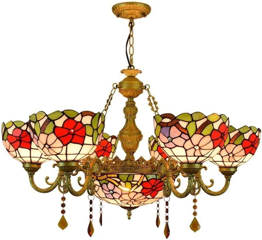 Tiffany Style Morning Glory Chandelier, Stained Glass Multi-Arm Ceiling Pendant Light Fixture, Hanging Lamp for Living Room Bedroom Hotel Dining Room, E27/E26,6