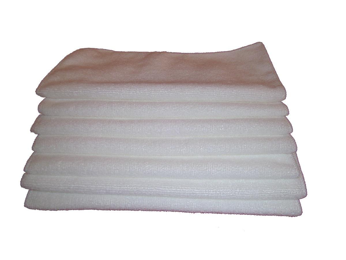 7 Pieces of Plush Microfiber Wash Cloths - 30cm By 30cm White - Antibacterial Microfiber B00OWKZ6VC