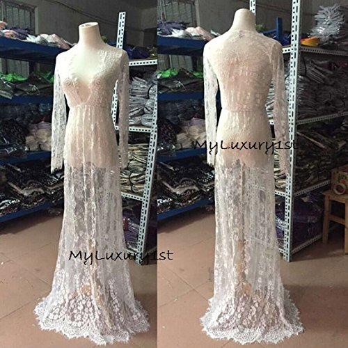 Price comparison product image Floor Length DENISE See Through White Lace Night Gown Sexy Women Dress Maternity Photography Pictures Bathing Suit Cover Up Very Long Size SMALL