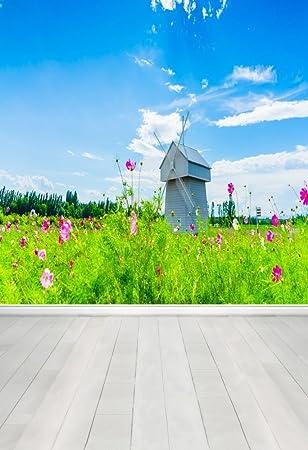 AOFOTO 10x10ft Artistic Backdrops Photography Background Wedding Romance Windmill Cabin Sky Grass Floors Lovers Kid Girl Portrait Vacation Scene Photo Shoot Studio Props Video