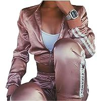 RkBaoye Women's Active High Waisted Crop Top Satin Stylish Activewear Set
