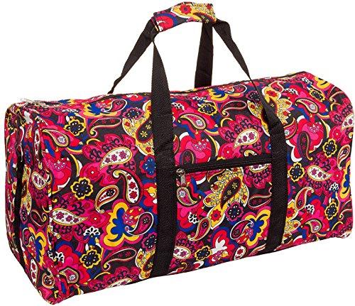 "LD Bags Silverhooks Paisley 22"" Duffle Travel Bag w/Black Trim (Multicolored)"