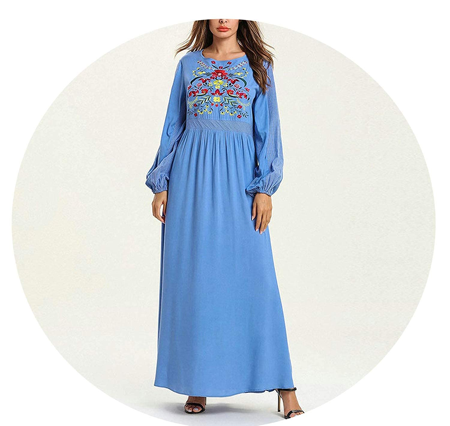 bluee dress bluee Draped Swing Long Dress Elegant Ethnic Floral Embroidery Maxi Dresses Young Ladies Casual Ramadan