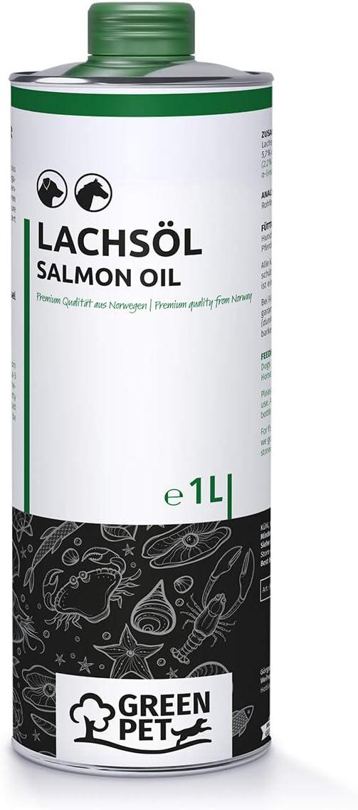 Aceite de Salmón para Perros, Gatos y Caballos (1 Litro) | Con Ácidos grasos OMEGA 3. Puro 100% Natural | Ideal como Complemento Alimenticio Diario y Suplemento de Dietas BARF
