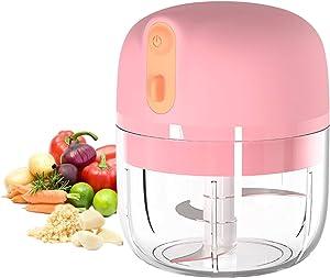 Electric Mini Garlic Chopper,Wireless Mini Chopper Small Food Processor,Portable Small Garlic Blender Food Chopper for Dicing, Ginger, Chili, Fruits, Onions, Vegetable,BPA Free 8.5oz