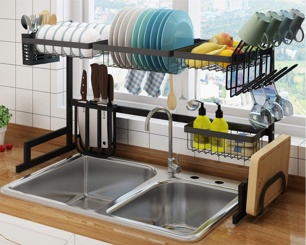 Amazon Com Stainless Steel Over The Sink Dish Drying Rack Small Kitchen Storage Systems All In One Standing Large Dish Drainer Shelf Removable Wire Basket Hooks Space Saver Organizer For Kitchen Supplies