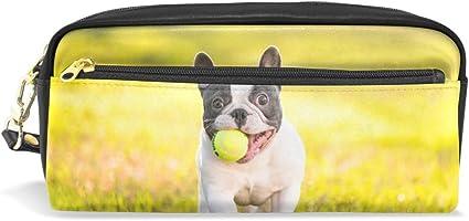 Estuche para lápices de Bulldog francés de gran capacidad con cremallera y bolsa de maquillaje: Amazon.es: Oficina y papelería