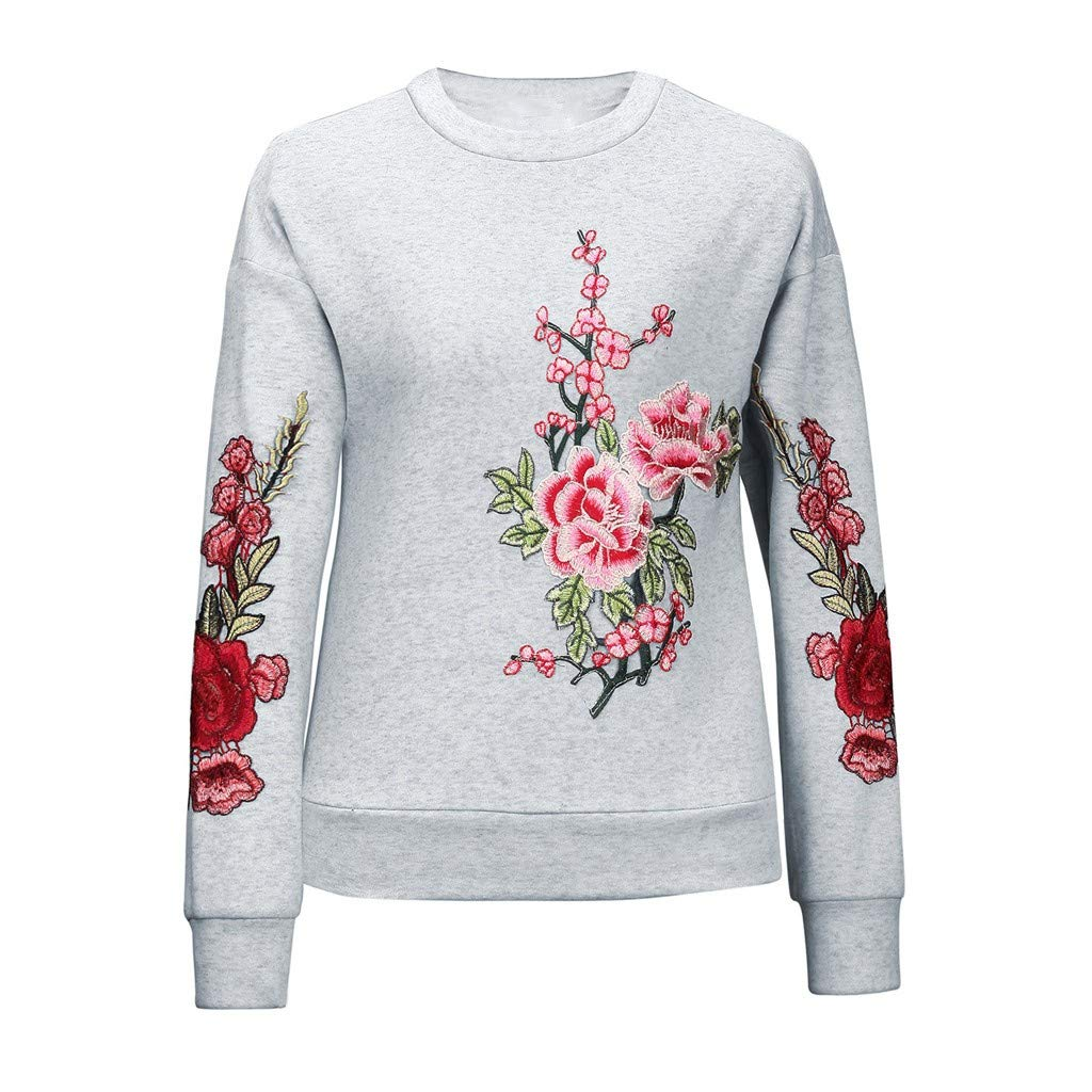 Fashion Casual Long Sleeve Round Neck Embroidery Flower Sweatshirt Tops Women