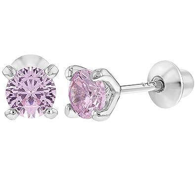925 Sterling Silver Baby Girls Kids Screw Back Earrings Prong Set CZ 4mm