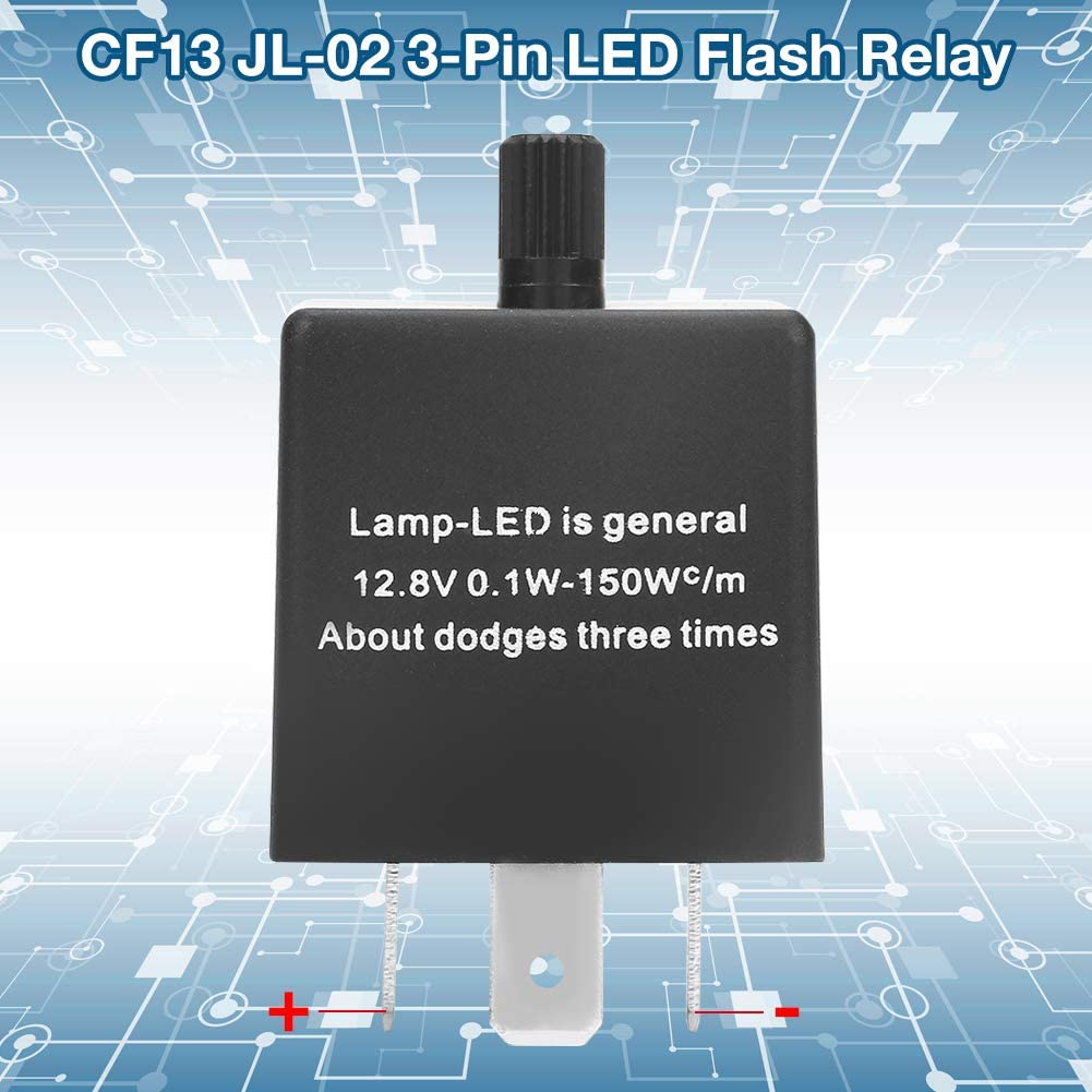 2Pcs CF13 Flash Relay,0.1W-150W//12.8V Flash Relay 3-Pin,LED Flasher Relay, for LED Turn Signal Lights or Normal Lights.
