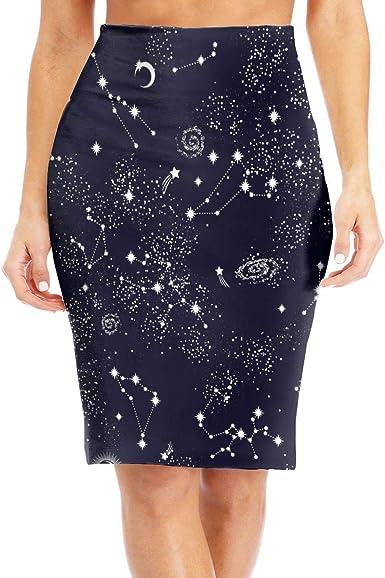 Stars Constellations Map Midi Pencil Skirt