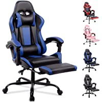 ALFORDSON Gaming Chair Racing Chair Executive Sport Office Chair with Footrest PU Leather Armrest Headrest Home Chair Blue