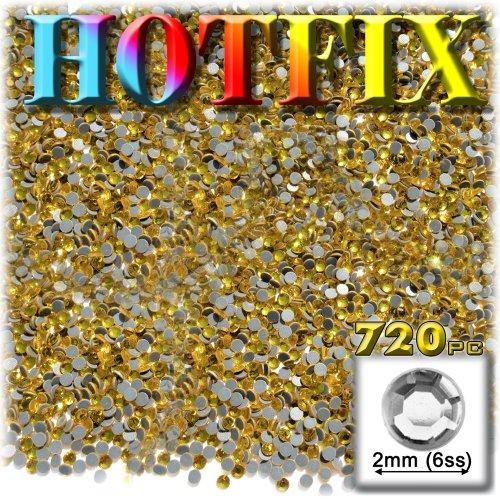 工芸のアウトレットDMCアイロンホットフィックスで優れた品質ガラス720-pieceラウンドラインストーン装飾、2mm、イエロー