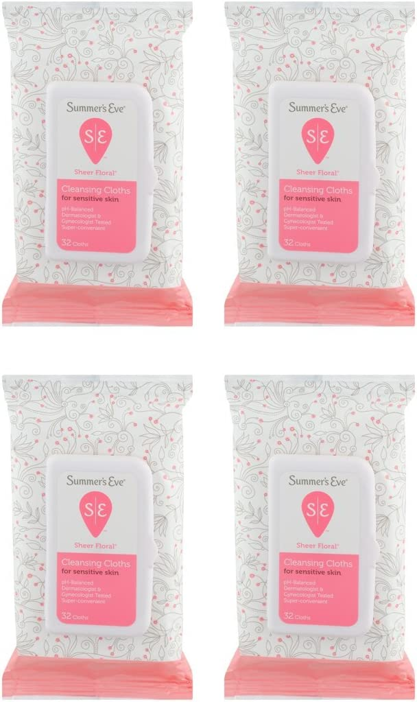 Summer's Eve Cleansing Cloths | Sheer Floral |32 Count | Pack of 4 | pH-Balanced, Dermatologist & Gynecologist Tested